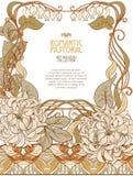 Affiche, achtergrond met ruimte voor tekst en decoratieve bloemen in Jugendstilstijl royalty-vrije illustratie
