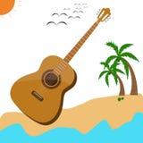 Affiche acoustique musicale d'été de musique de guitare Photographie stock libre de droits