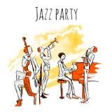 Affiche of albumdekking voor jazzband Overleg van jazzmuziek Het Kwartet speelt jazz Vectorillustratie in schetsstijl royalty-vrije illustratie