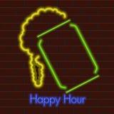Affiche au néon d'heure heureuse illustration stock