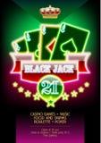 Affiche au néon de promo de calibre de vecteur pour l'événement de nuit de casino Illustration Stock
