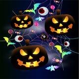 Affiche au néon - Halloween heureux effrayant ! Potiron rougeoyant Jack, chauves-souris au néon en Web Tour ou festin illustration stock