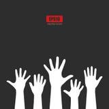 Affiche augmentée de vecteur de mains Images libres de droits