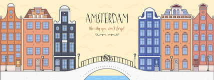Affiche avec Amsterdam, Hollande Pont, bicyclette Photo stock
