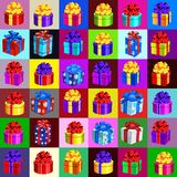 Affiche avec des attributs de la nouvelle année et du Noël Croquis pour des autocollants, invitation de partie, carte, texture sa illustration de vecteur