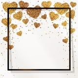 Affiche avec des confettis de c?ur d'or, étincelles, scintillement d'or dans le cadre noir, frontière Image libre de droits