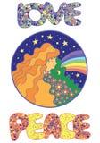 Affiche avec des mots hippies de fille, d'amour et de paix illustration stock