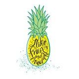 Affiche avec l'ananas Lettrage tiré par la main Images stock