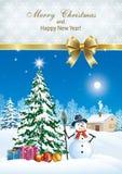 affiche avec l'arbre de Noël décoré Photo libre de droits