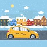 Affiche avec la cabine de jaune de machine dans la ville Photo stock