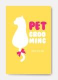 Affiche avec la silhouette de chat Logo de toilettage d'animal familier Salo du poil d'animal Image libre de droits