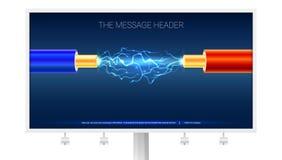 Affiche avec le câble électrique et étincelles sur le panneau d'affichage Câble électrique de cuivre dans l'isolation bleue et ro illustration stock