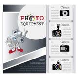 Affiche avec le caractère d'une manière amusante et la gamme des appareils-photo illustration stock
