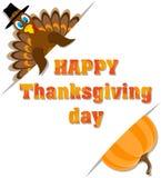 Affiche avec le jour heureux de thanksgiving d'inscription et la dinde et l'unité centrale illustration de vecteur