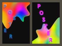 Affiche avec le modèle géométrique au néon Milieux graphiques colorés olographes Rétro bannière, insecte, tract, affiche Images libres de droits