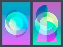 Affiche avec le modèle géométrique plat au néon Milieux graphiques colorés olographes Rétro bannière, insecte, tract, affiche Photographie stock libre de droits