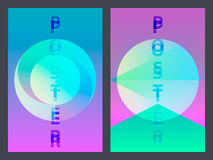Affiche avec le modèle géométrique plat au néon Milieux graphiques colorés olographes Rétro bannière, insecte, tract, affiche Photos stock