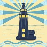 Affiche avec le phare dans le vecteur de style de vintage Image libre de droits