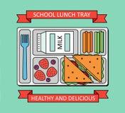 Affiche avec le repas scolaire Photo libre de droits