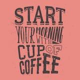 Affiche avec le slogan tiré par la main de café Illustration créatrice de vecteur Photo libre de droits