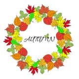 Affiche avec le vecteur coloré d'automne de feuilles et d'inscription d'automne Photographie stock