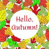 Affiche avec le vecteur coloré d'automne de feuilles et d'inscription d'automne Image libre de droits
