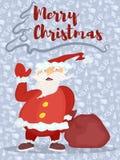 Affiche avec un fond pourpre Santa avec un sac des cadeaux illustration libre de droits