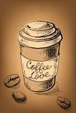 Affiche avec une tasse de café illustration stock