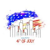 Affiche, bannière ou insecte pour la célébration du 4 juillet Images stock