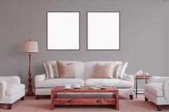 Affiche blanche avec la maquette vide de cadre Photographie stock