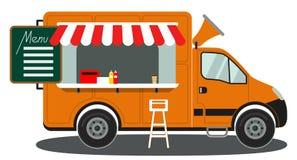 Affiche blanche de chaise de nourriture de camion de vue de côté de café orange de menu illustration stock