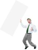 Affiche blanche de prise d'homme d'affaires grande à disposition images stock