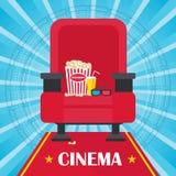 Affiche bleue de cinéma Images libres de droits