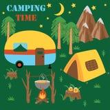 Affiche campante de temps avec la tente et la remorque - illustration de vecteur, ENV illustration de vecteur