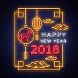 Affiche 2018 chinoise heureuse de nouvelle année dans le style au néon Illustration de vecteur Enseigne au néon, salutations lumi Photo stock