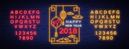 Affiche 2018 chinoise heureuse de nouvelle année dans le style au néon Illustration de vecteur Salutations lumineuses d'enseigne  Photo stock