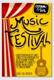 Affiche classique de vecteur d'instrument de musique de guitare de festival de concert Photo libre de droits