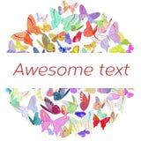Affiche colorée avec des papillons disposés dedans Photo libre de droits