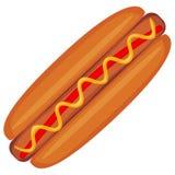 Affiche colorée d'icône d'aliments de préparation rapide de hot dog Photos libres de droits