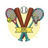 Affiche colorée de mode de vie de sport avec des battes de baseball et des raquettes de tennis et de badminton Photographie stock