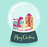 Affiche colorée de Noël avec le globe de neige de bande dessinée Image libre de droits