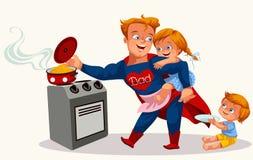 Affiche colorée de papa de super héros illustration stock