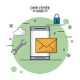 Affiche colorée de service de centre de traitement des données avec le smartphone et le courrier et les outils et les icônes sûre Photographie stock