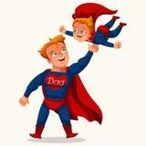 Affiche colorée plate de papa de super héros illustration libre de droits