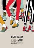 Affiche colorée tirée par la main de partie de nuit avec des jambes de danse Danse, événement, plaquette d'illustration de vecteu Images libres de droits