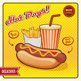 Affiche comique de style de hot-dogs Photo stock