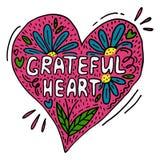 Affiche créative de vecteur avec le coeur reconnaissant de mots illustration libre de droits