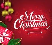 Affiche décorative de salutation de Noël à l'arrière-plan rouge de vignette avec des boules de Noël Image libre de droits