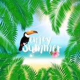 Affiche d'été avec les palmettes, le bord de la mer, la ketmie de fleur et le toucan Image libre de droits
