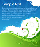 Affiche d'été d'écologie avec les configurations et la coccinelle Photographie stock libre de droits